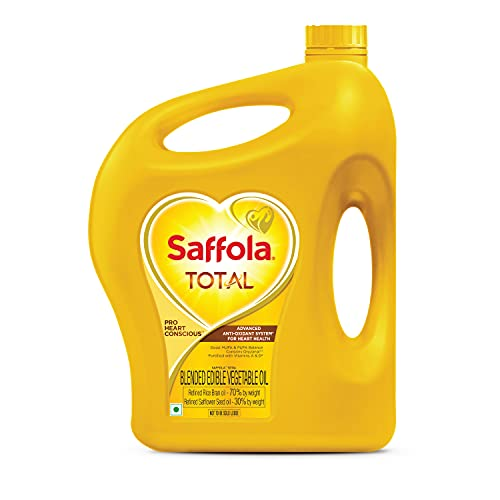 Saffola Total Refined Cooking oil | Blended Rice Bran & Safflower oil | Helps Manage Cholesterol | 5 Litre jar