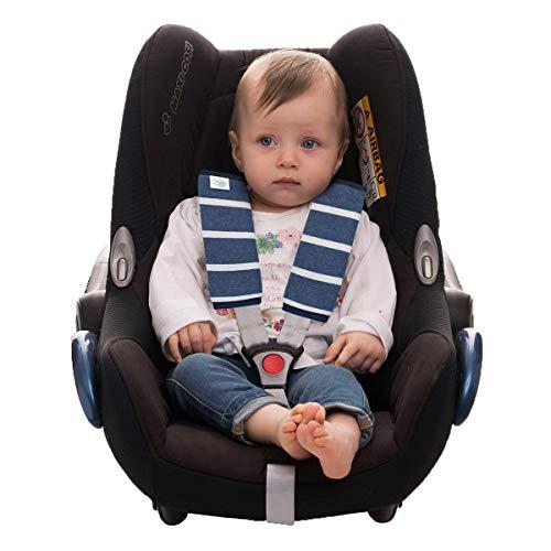 JANABEBE Gurtpolster Universal für Babyschale, Buggy, Autositz (SAILOR STRIPES, M)