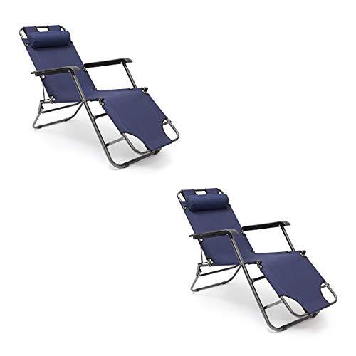 Relaxdays 2 x Liegestuhl klappbar im Set, Gartenliege 3-Fach verstellbar, Mit Nackenkissen und Armlehne, Bis 100 kg, blau