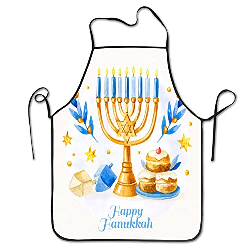 watercolor hanukkah Aprons for Men Women for Grilling Cooking Chef Kitchen Crafting BBQ Outdoors