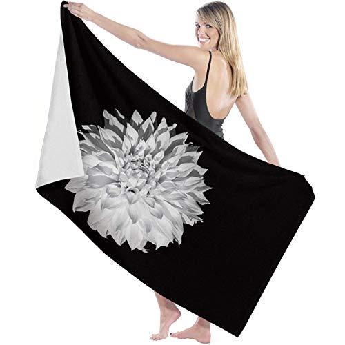 Toalla de Microfibra Secado rápido, Ligera, Absorbente, Suave y grante Yoga, Fitness, Playa, Gimnasio Elegante Flor de Dalia Blanca sobre Fondo Negro 130X80cm