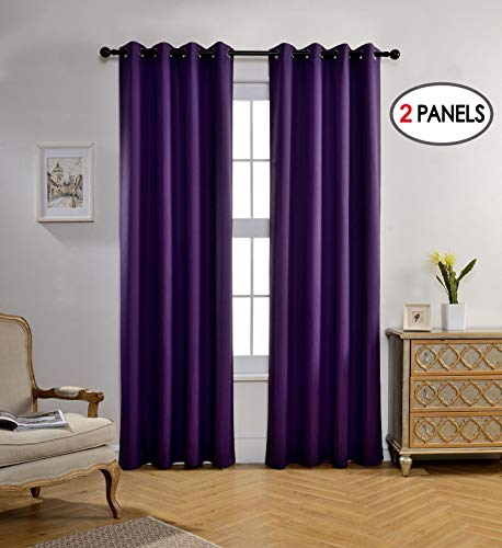 Miuco Woven Textured Thermal Insulated Grommet Blackout Curtains Living Room 2 Panels Drapery 52x84 Inch Purple