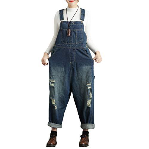 YuanDian Damen Denim Latzhose Weites Bein Drucken Große Größen Overalls Latzjeans Strampler Jeans Boyfriend Loose Fit Mutterschaft übergroße Jumpsuits Hose 5# Blau