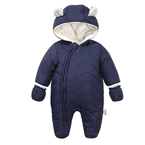 Ding-dong Baby Boy Girl Winter Hooded Puffer Jacket Snowsuit with Gloves(Navy,3-6M)