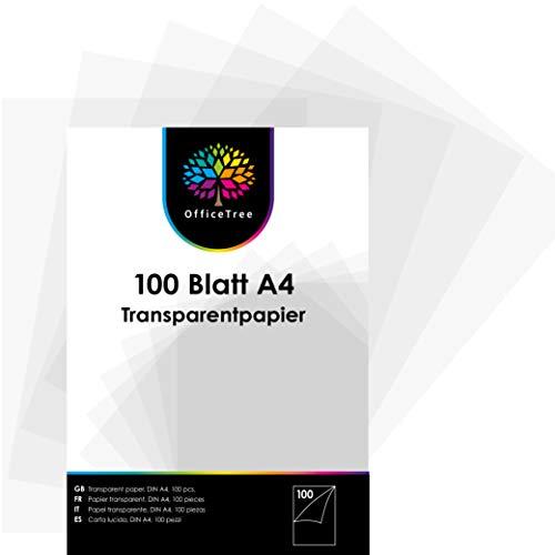 OfficeTree 100 Hojas de Papel Translucido A4 - Papel Acetato 100 g/m - Papel Cebolla A4 - Papel Transparente Impresora para Manualidades - Imprimible por Ambos Lados