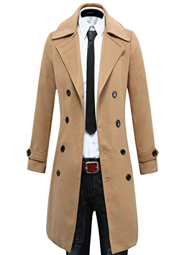 Beninos Men's Trench Coat Winter Long Jacket Double Breasted Overcoat (5625 Camel, US:XL/Asia 3XL)