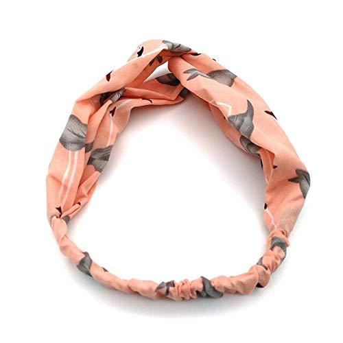 MYSdd Bandeau Souple pour Femmes Retro Print Cross Cross Knot Elastic Hairband Headdress Accessoires pour Cheveux - Abricot, a