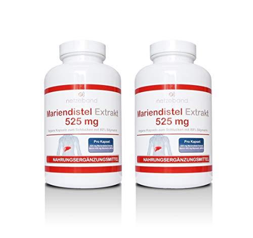 Mariendistel Extrakt 525 mg - 80% Silymarin (420mg) - 400 vegetarische Kapseln - frei von Trennmitteln und Füllstoffen (2 Packungen a 200 Kapseln)