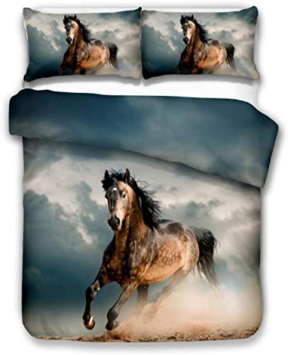 Rvvaceo Double Duvet Cover Set Duvet Cover With Pillow Cases, 3 Piece Bedding Set, Soft Poly-Cotton Quilt Cover, Machine Washable, Easy Care-Single (135 X 200 Cm) Gray Sky Land Sand Dust Animal Horse