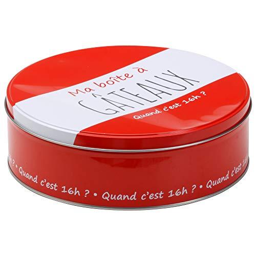 LA BOITE A BT6513 Boîte à Gâteaux Métal Rouge 22 x 22 x 9,60 cm