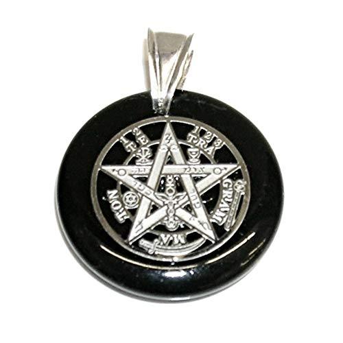 Colgante Tetragrámaton de Ónix Acero Inoxidable y Asa Grande Plata de Ley. Estuche Regalo