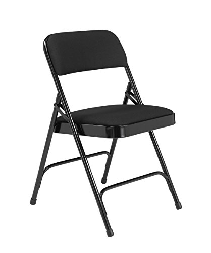 4 Pack National Public Seating 2200 Series Deluxe Fabric Upholstered Double Hinge Premium Folding Chair Midnight Black 480 lbs Capacity