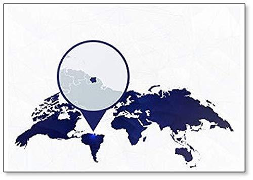 Suriname Gedetailleerde kaart gemarkeerd op Blauwe Afgeronde Pin Illustratie Koelkast Magneet
