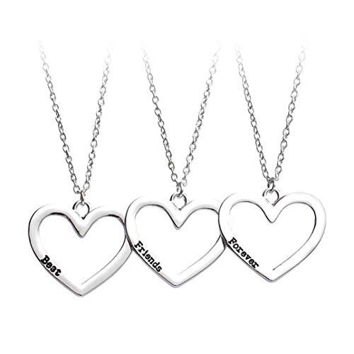 U/K Collar de la amistad único y creativo de 3 piezas Best Friends Forever Collar de corazón hueco para hermana