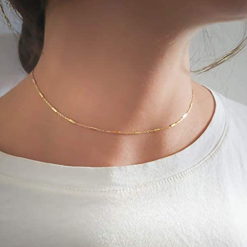 Gold Choker Short Gold Necklace for Women with Small Tube Chain Minimalist Gold Jewelry Handmade product image