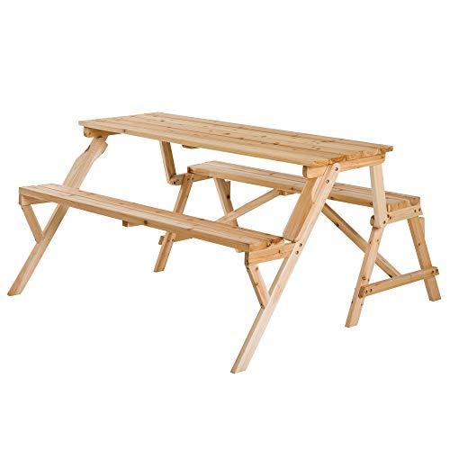 Outsunny Bierzeltgarnitur Festgarnitur 2-in-1 klappbar Sitzgruppe Gartengarnitur 1 x Tisch 2 x Sitzbank Tannenholz Natur 138 x 130 x 73 cm