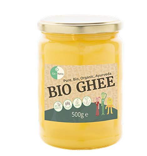 Go-Keto BIO Ghee, 500 g   100% beurre clarifié, certifié BIO, Ayurveda   parfait pour le régime céto   idéal pour la cuisson et le rôtissage   Sans lactose, sans gluten, low carb