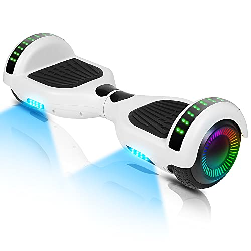 Hoverboard-Hoverboard para niños, aerotabla autoequilibrante de Dos Ruedas de 6.5 Pulgadas, con Bluetooth y Luces Intermitentes LED, Adecuado para niños de 6 a 12 años (Blanco)