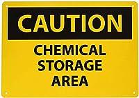 安全標識-注意-化学薬品保管エリア。 金属スズサインUV保護および耐候性、通知警告サイン