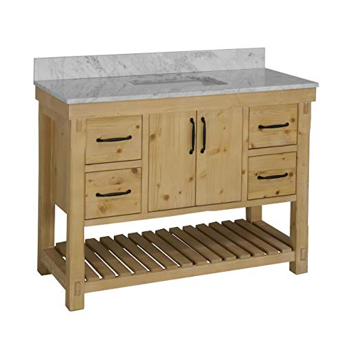 Birmingham 48-inch Bathroom Vanity (Carrara/Driftwood): Includes Driftwood Cabinet with Authentic Italian Carrara Marble Countertop and White Ceramic Sink