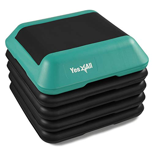 "Yes4All Adjustable High Step Aerobic Platform, 16"" x 16"" Black/Green Step Platforms for Aerobic Step Exercises"