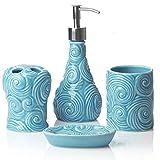Juego de accesorios de baño de diseño de 4 piezas - Juego de baño de cerámica con dispensador de jabón líquido o loción, portacepillos de dientes, vaso y jabonera - Accesorios de tocador modernos