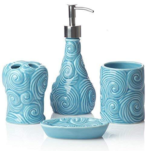 Designer Set di 4 pezzi di accessori per il bagno in ceramica | Include distributore di sapone liquido o lozione con portaspazzolino, vetro, portasapone, portasapone | Reticolo marocchino | Blu