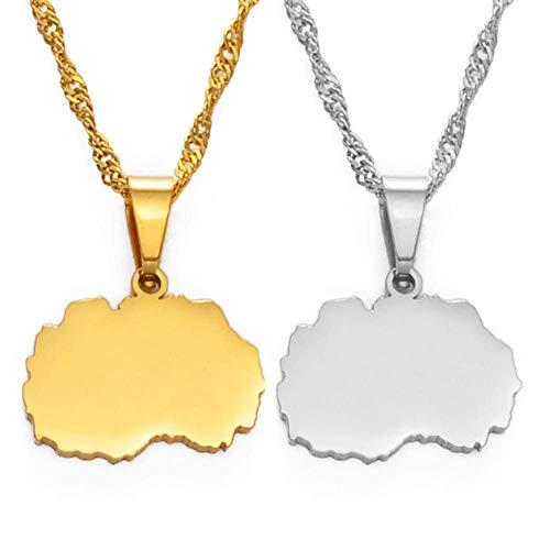 1 8CM Small Size North Macedonia Map Anhänger Halsketten für Frauen Mädchen Silber Farbe / Gold Farbe Schmuck # 146821-Gold_Color_60cm_Thin_Chain