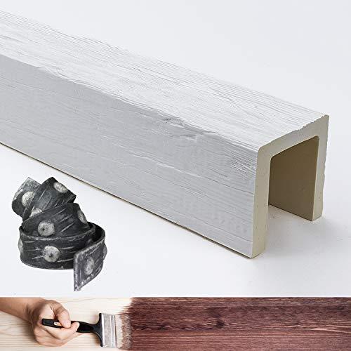 Balken aus Holzimitat, 4 Meter, Maße 12 x 12 cm (Material Polyurethan besser als Polystyrol) + Gürtel / Bügel aus künstlichem Eisen, Farbe weiß, lackierbar, Echtholzoptik, Dekorbalken