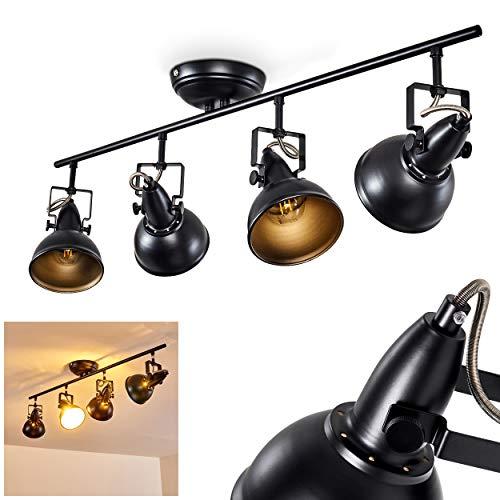 Lámpara de techo Tina, de metal en negro/oro, 4 llamas, con focos ajustables, 4 x E14 socket max. 40 Watt, focos en diseño retro/vintage, adecuado para bombillas LED