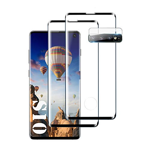 Galaxy S10 Screen Protector, [2-Pack] [Support Fingerprint Sensor] [Camera Lens Protector] [Ultra Clear] [Case Friendly] Premium 3D Tempered Glass for Samsung Galaxy S10