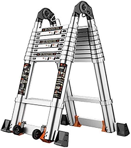 LYQQQQ Aluminio Doble telescópica Una Escalera Loft Extensión Extender portátil Plegable General Perfil telescópicos peldaños de la Escalera Multiusos for Interior al Aire Libre (Size : 2.15M+2.15M)