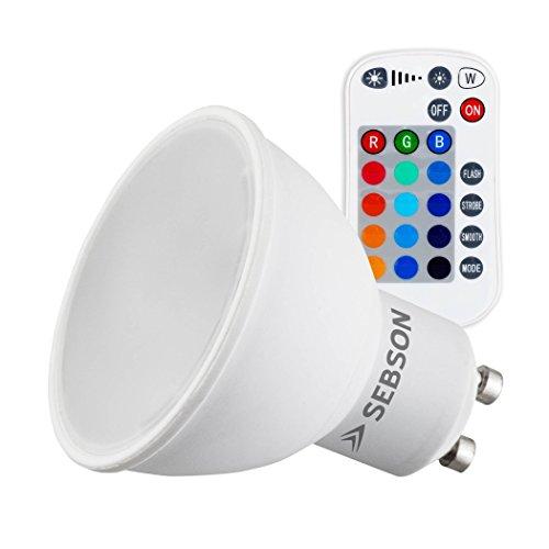 SEBSON® LED Lampen GU10 RGB Farbwechsel, bunt 15 Farben, dimmbar, 4 Modi, Fernbedienung, warmweiß 2700K