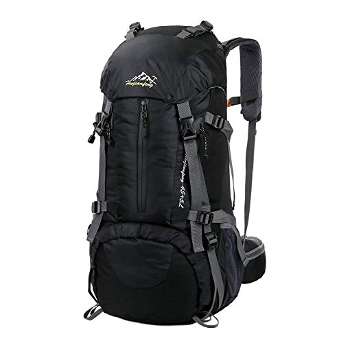 Hiking Backpack, Esup 50L Multipurpose Mountaineering Backpack with rain cover 45l+5l Travel Camping Backpack, Suitable for Climbing Skiing Outdoor Sport, Perfect Fathers Day Gifts (Black-50L)