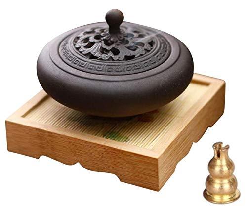 Waymall 木の台付き 香炉 香炉セット インテリア 置物 オブジェ 机上香呂 お香立て 陶器 線香立 お守り 蓋付属 陶瓷 部屋飾り リラックス 癒や