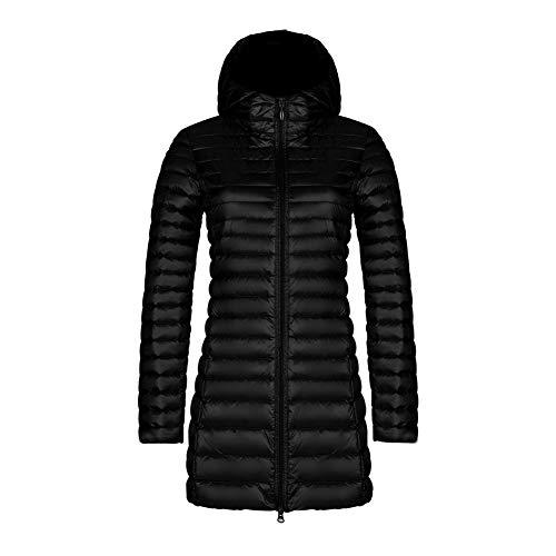 CHIYEEE Packbar Daunenjacke Damen Kapuze Ultra Leichtgewicht Langer Winter Kugelmantel mit Handgepäck Schwarz M