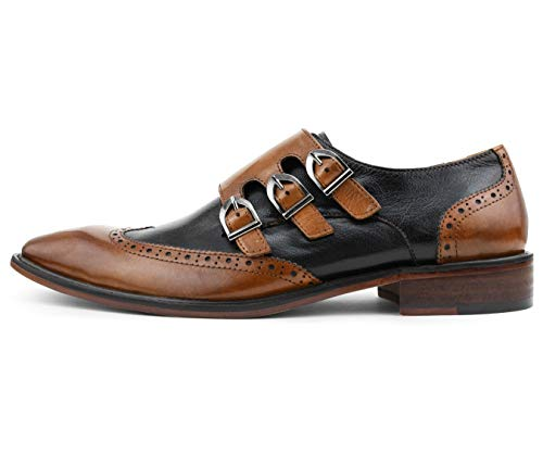 Asher Green Mens Genuine Two-Tone Leather Dress Shoes, Comfortable Triple Monk Strap Wingtip Oxfords