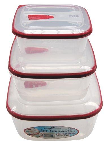 M-Home   Lot de 3 Boîtes Hermétiques Micro Ondes Carrées   Plastique   Rouge   20,5 x 20,5 x 10 cm   PLS1739
