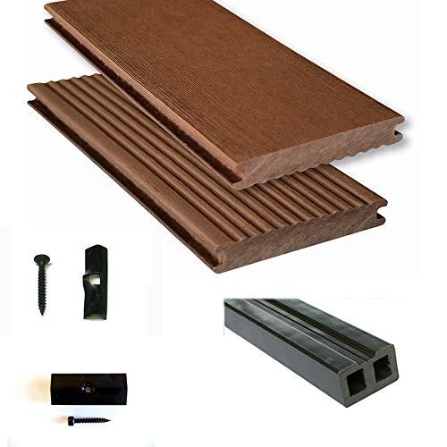 Terrassendiele WPC Komplettset WPC-WoodoMassiv in braun beinhaltet WPC Diele. Unterkonstruktion, Verbindungsclipse, Anfang- und Endclip (35 m²)