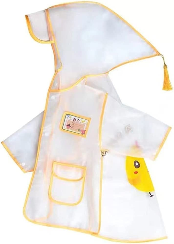 LLNZQ Children's Raincoat, 3D Cartoon Kids's Hooded Raincoat, Jacket and Poncho Yellow (Color : Clear, Size : Medium)