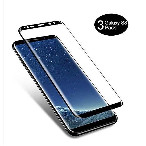 AMNIE [3 Stück Panzerglas Schutzfolie für Samsung Galaxy S8, Anti-Öl, HD, 9H Festigkeit, Blasen & Fingerabdruck, Einfaches Anbringen, Kratzer, Klar Bildschirmschutzfolie für Samsung Galaxy S8 – Schwarz