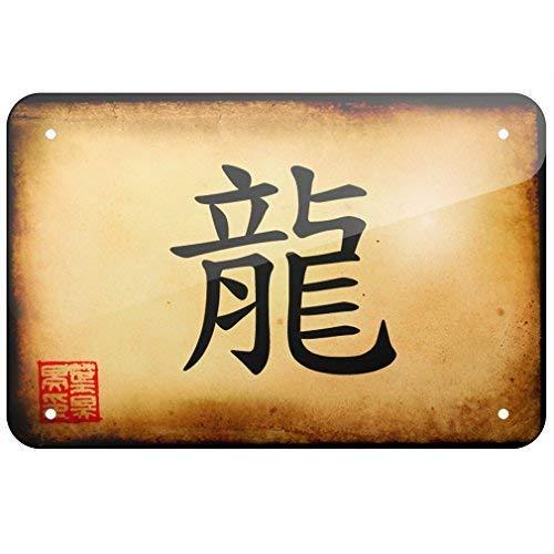 SIGNCHAT Metallschild chinesische Schriftzeichen Drache Blechschild 20,3 x 30,5 cm