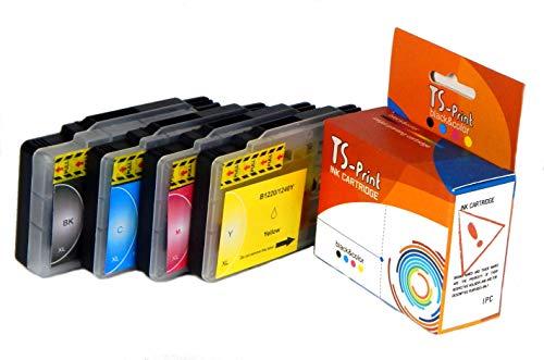 TS-Print Pack de 4 Cartuchos de Tinta compatibles para Brother LC1240XL BK/C/M/Y DCP-J525W DCP-J825DW MFC-J280W MFC-J430W MFC-J625DW MFC-J825DW MFC-J5910DW MFC-J6510DW MFC-J6910DW LC-1220 XL