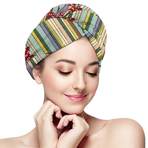 Maple Leaves with Colorful Vertical Stripes Microfiber Hair Towel Wrap for Women Super Absorbent Quick Dry Hair Turban for Drying Curly Spa Towel 11¡±