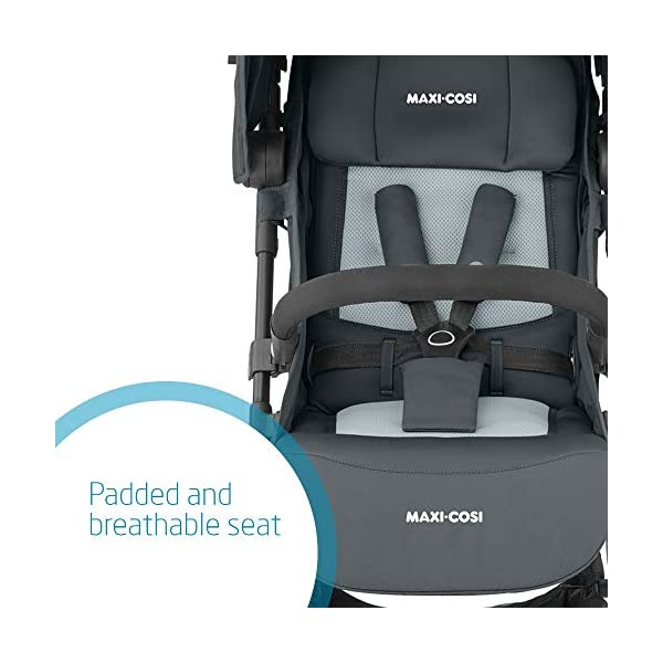 Maxi-Cosi Lara2. Lightweight, Compact Pushchair, Easy-to-fold, from Birth up to 4 Years, up to 22 kg, Essential Graphite Maxi-Cosi Pushchair for baby and toddler, from birth up to 4 years, up to 22 kg The ultra-compact and lightweight design makes the lara² easy to carry thanks to its shoulder strap and easy to store in even the smallest places Unique one-hand flash fold: press the push bar and the pushchair will automatically fold 3
