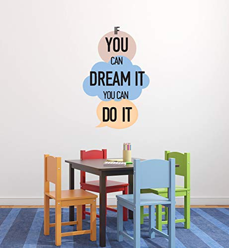 Vinilo decorativo para pared con cita «If You Can Dream It You Can Do It Walt», diseño de texto en inglés «If You Can Dream It You Can Do It Walt CG375