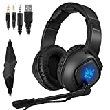 Mbuynow Gaming Headset für PC, PS4, PS5, Xbox One, Xbox Series X, LED Licht 3.5mm Surround Sound Noise Cancelling, Professional Kopfhörer mit Mikrofon