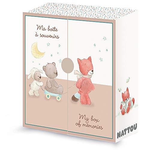 Nattou Boîte à Trésors pour Bébés, Pour souvenirs et Trouvailles, Fanny et Oscar, 25 x 9 x 26,5 cm, Blanc/Beige