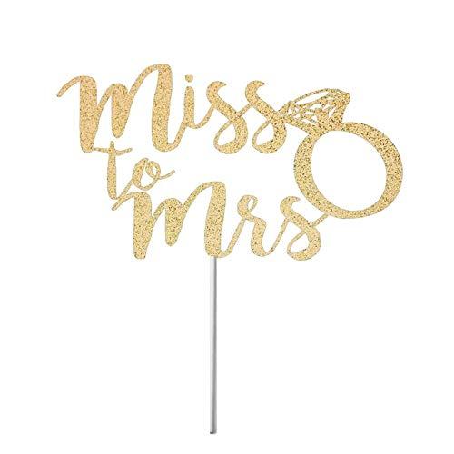 Miss naar Mrs Cake Topper, Bruids Douche Taart Topper, Gouden Glitter, van Miss naar Mrs Cake Sign, Ze zei ja, Bruid om Decor te zijn, Cursive Ring