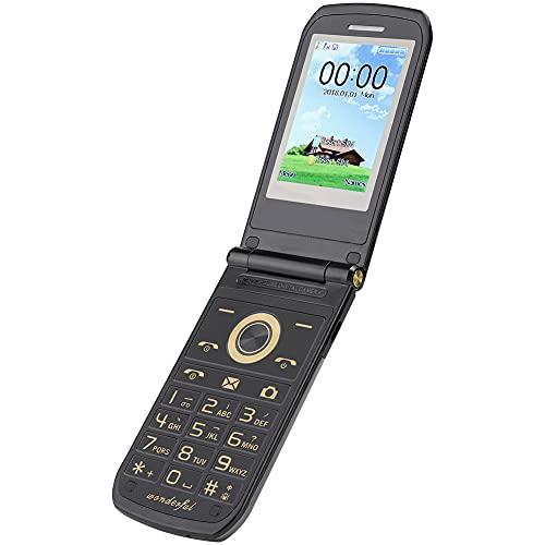 Teléfono con tapa de pantalla dual, teléfono inteligente de botón grande con modo de espera de tarjeta dual con modo de espera prolongado y gran capacidad mejor, para adolescentes, niños, ancianos(EU)